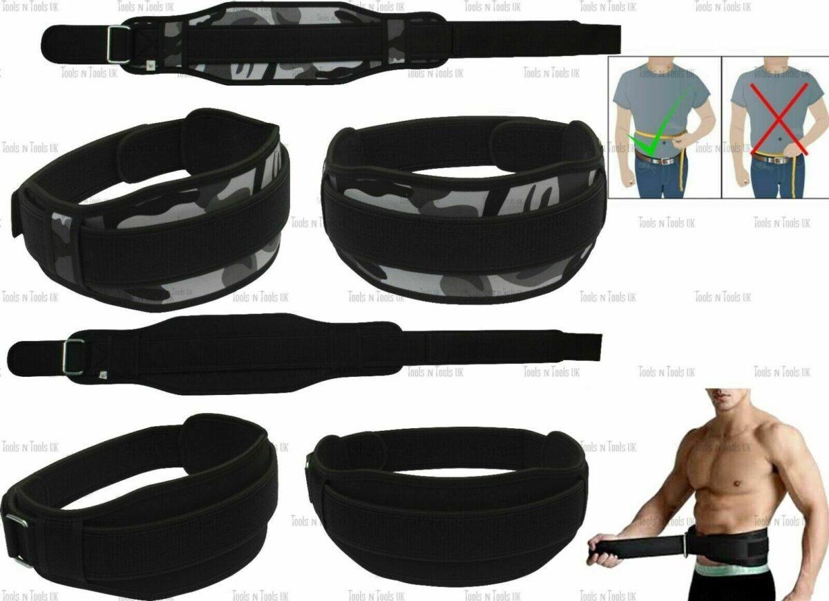 Weight Lifting Belt Gym Training Back Support Neoprene Lumber Pain Fitness UK